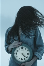 Preview iPhone wallpaper Girl and clock, wind, hair flying