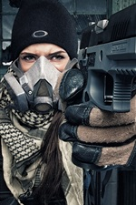 Girl use gun, gas mask, gloves