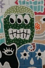 Preview iPhone wallpaper Graffiti wall, face, art painting