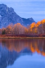 Preview iPhone wallpaper Grand Teton National Park, USA, water reflection, mountains, trees, lake, autumn