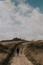 Preview iPhone wallpaper Grass, path, man