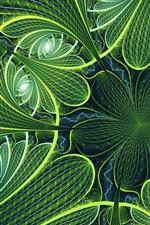 Зеленые цветы, фрактальная фотография, аннотация