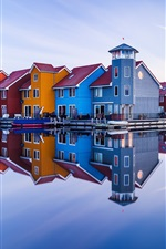 Preview iPhone wallpaper Groningen, Netherlands, colorful wood houses, river, water reflection