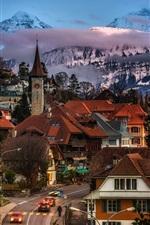 Preview iPhone wallpaper Gundlischwand, Switzerland, street, houses, trees, mountains, dusk