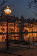 Preview iPhone wallpaper Hague, Netherlands, buildings, night, lamp