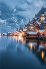 Preview iPhone wallpaper Hallstatt, Upper Austria, beautiful city view, snow, houses, winter, lake