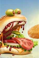 Preview iPhone wallpaper Hamburger open mouth, humor, creative picture