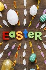 Fröhliche Ostern, bunte Eier, Blumenblätter