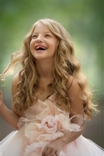 Preview iPhone wallpaper Happy child girl, blond hair, pink skirt