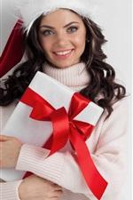 Happy girl, gift, sweater, Christmas hat