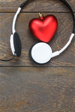 Preview iPhone wallpaper Headphones, love heart