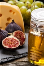Honey, figs, cheese, grapes