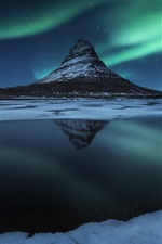 Preview iPhone wallpaper Iceland, Kirkjufell mountain, snow, night, northern lights