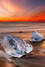 Preview iPhone wallpaper Iceland, ice, sea, beach, sunset