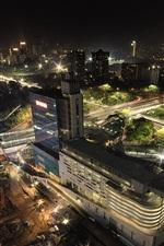Indonesia, Jakarta, city, roads, buildings, top view, night