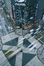 Preview iPhone wallpaper Japan, city, street, buildings, cars, top view