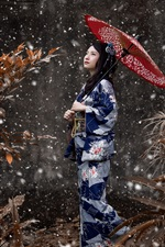 Preview iPhone wallpaper Japanese girl, blue kimono, umbrella, snowy, winter