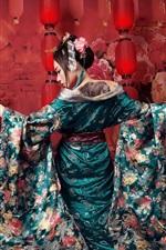 Preview iPhone wallpaper Japanese girl, umbrellas, sword