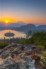 Julian Alps, Slovenia, Lake Bled, trees, mountains, sunrise