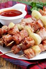 iPhone fondos de pantalla Kebab, carne, salsa de tomate