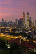 Preview iPhone wallpaper Kuala Lumpur, Malaysia, city evening, buildings, lights