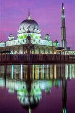Preview iPhone wallpaper Kuala Lumpur, mosque, night, river, water reflection, Malaysia