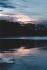 Preview iPhone wallpaper Lake, trees, sky, clouds, dusk