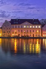 Preview iPhone wallpaper Landshut, Bayern, Germany, promenade, river, buildings, night