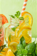 Preview iPhone wallpaper Lemon, citrus, lime, drinks, mint