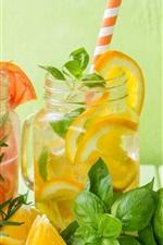 Lemon, citrus, lime, drinks, mint