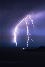 Preview iPhone wallpaper Lightning, night, storm, clouds