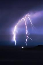 Lightning, night, storm, clouds