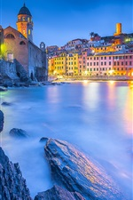 Preview iPhone wallpaper Ligurian Sea, Vernazza, Cinque Terre, houses, lights, Italy