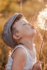 Preview iPhone wallpaper Little boy play dandelion