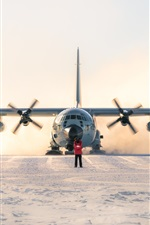 Preview iPhone wallpaper Lockheed LC-130 Hercules, plane, south pole, snow
