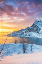 Lofoten Islands, Norway, sunset, lake, mountains, snow, winter