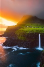 Preview iPhone wallpaper Lofoten Islands, beautiful nature landscape, sea, waterfalls, sunrise, fog