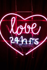 Preview iPhone wallpaper Love 24 hours, neon light