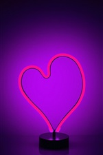 Preview iPhone wallpaper Love heart neon light, purple backlight