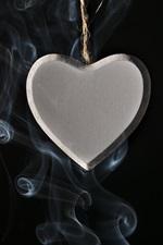 Preview iPhone wallpaper Love heart pendant, smoke, black background