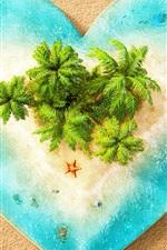 Preview iPhone wallpaper Love heart, sea, island, beach, creative