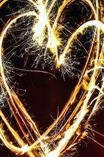 Love hearts fireworks, sparks, night