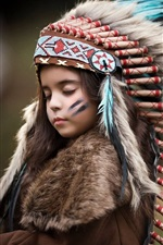 Preview iPhone wallpaper Lovely child girl, feathers, Indian style