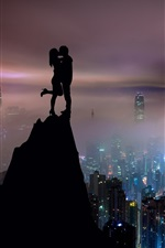 Preview iPhone wallpaper Lovers, kiss, mountain top, city night, Hong Kong