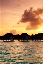 Preview iPhone wallpaper Maldives, bungalow, tropics, sea, sunset