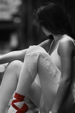 Preview iPhone wallpaper Monochrome style, girl, ballerina, red shoes