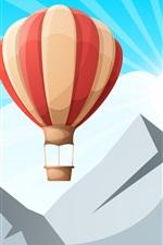 Mountain, balloon, sun rays, vector design