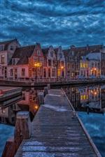 Preview iPhone wallpaper Netherlands, Haarlem, dock, houses, river, night, lights