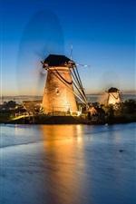 iPhone fondos de pantalla Países Bajos, río, molinos de viento, noche, luces