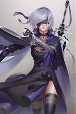 Nier: Automata, девушка с белыми волосами, меч